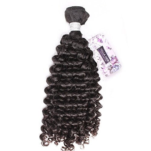 Bella Hair 1 Bundle Genuine 5A Brazilian Virgin Curly Wave Human Hair Extensions Natural Black Color (10inch)