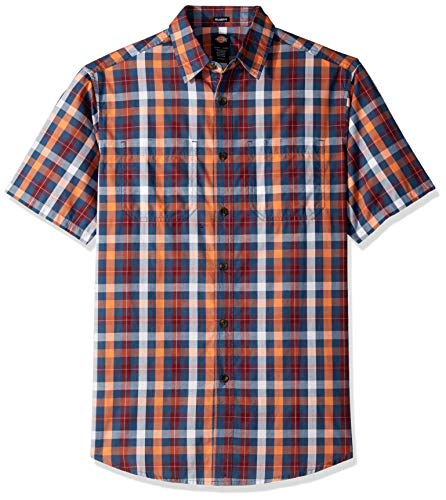 (Dickies Men's Yarn Dyed Plaid Short Sleeve Shirt, Rinsed Dark Navy Multi, XL)