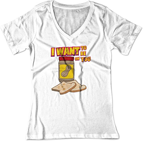 BSW Women's Want to Be On You Anchorman Peanut Butter V-Neck Shirt XS White ()