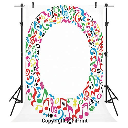 Letter O Photography Backdrops,O Character Capitalized with Collection of Multicolored Musical Elements Alphabet Decorative,Birthday Party Seamless Photo Studio Booth Background Banner 3x5ft,Multicolo