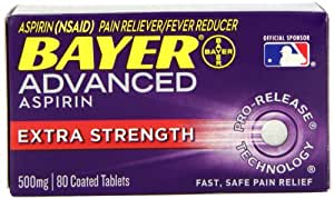 Bayer Advanced Aspirin Extra Strength, 500mg, 80 Coated Tablets