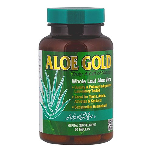 Aloe Life - Aloe Gold Tablets, Immune System Support, Natural Digestive Aid, Energy and Body Wellness (90 (Aloe Vera Juice Tabs)