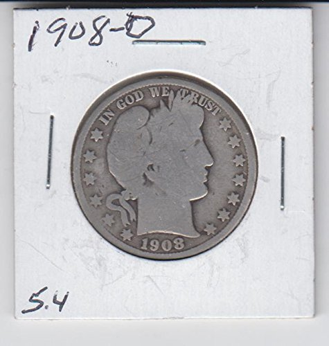 1908 O Barber Half Dollar Silver Coin- Circulated Half Dollar Good