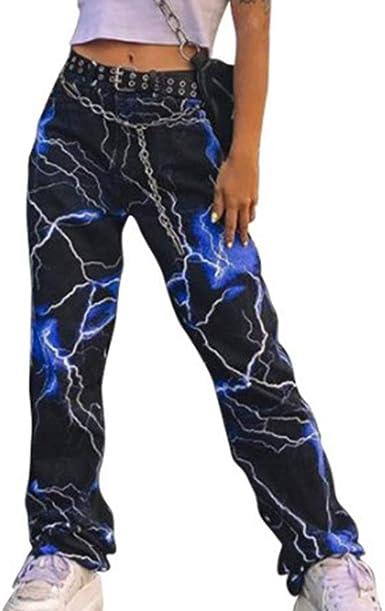 Pantalones Anchos Con Estampado De Rayo De Moda Para Mujer Amazon Es Ropa Y Accesorios