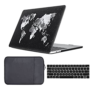 """Macbook Pro 13 inch Case W/Without Touch Bar 2016&2017 Release 3 in 1 Bundle Soft Touch Hard Shell Cover,Waterproof Canvas Laptop Sleeve,Silicone Keyboard Cover For MacBook Pro 13"""" A1706/A1708"""