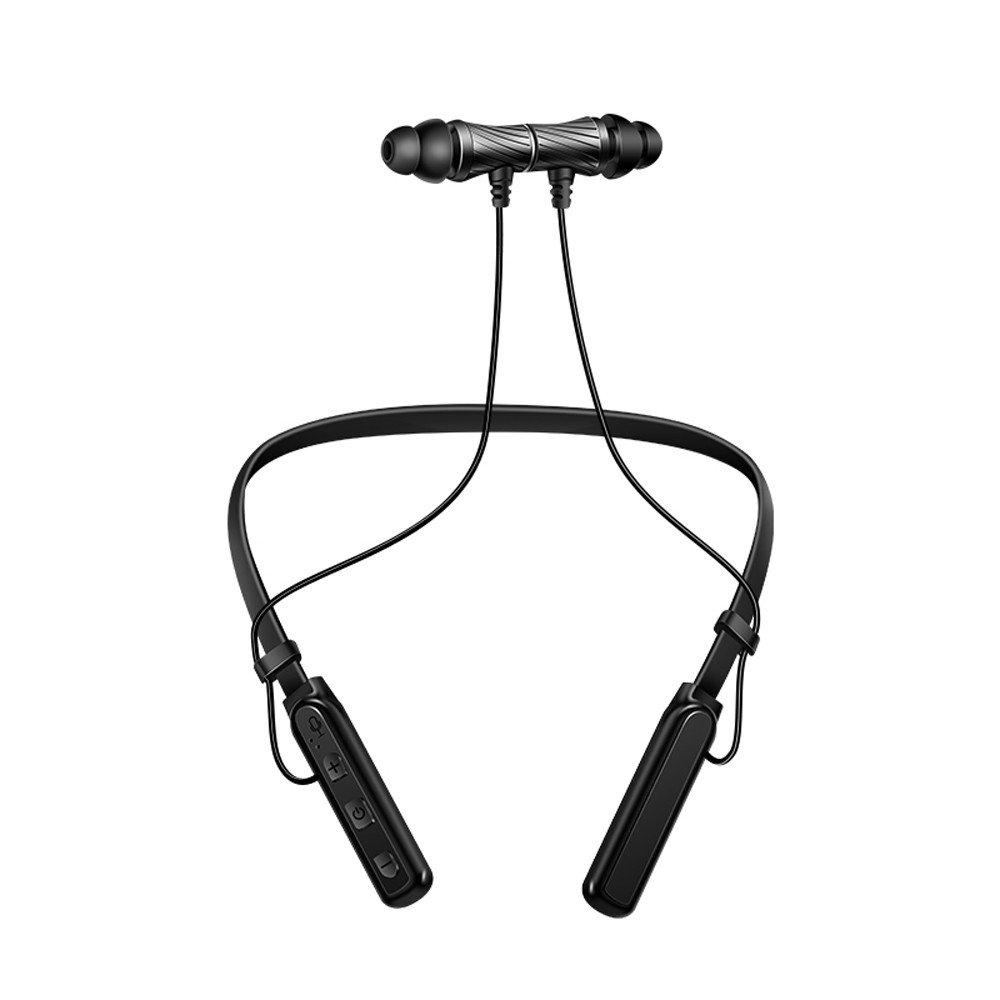 DIRANCE 磁気ハンギングネック Bluetoothヘッドセット ステレオ スポーツイヤホン ヘッドセット マイク ブラック DR  ブラック B07Q42V8ZC