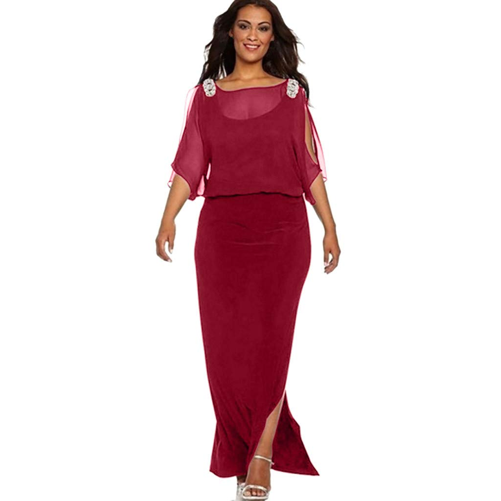 Dress for Women Solid Color Long Sleeve Slit Off Shoulder Maxi Girl Split Side Dresses(Red,XL)