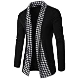 GOVOW Cotton Slim Fit Shirts for Men Autumn Winter Long Sleeve Patchwork Blouse Tops Coat Outwear(L,Black)