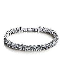 Marwar Jewelry Luxury AAA+ Cubic Zirconia Tennis Green/Clear Rhinestone Bracelet & Bangles Gold Color