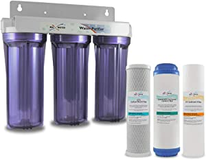 "Max Water Whole House Water Filter, 3 Stage Home Water Filtration System, w/ 10"" x 2.5"" Sediment, GAC, CTO Carbon Water Filters (Chlorine, Taste, and Odor) 3/4"" Ports , Good for City Water"