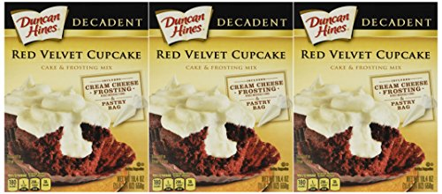 Duncan Hines Decadent Red Velvet Cupcake & Cream Cheese Frosting Mix 19.4oz Box (Pack of 3)