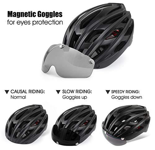 Shinmax Casco Bici con Luce di LED,Certificato CE, Casco con Visiera Magnetica Staccabile Shield Casco da Bici Leggero… 4 spesavip