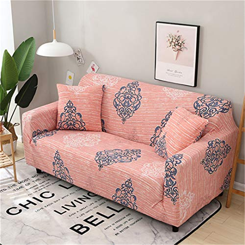 (Ranferuyk 1Pc Spandex Modern Sofa Cover Elastic Floral Polyester 1/2/3/4 Seater Couch Sofa Slipcover for Living Room Furniture Protector Color 16 Three-seat 190-230cm)