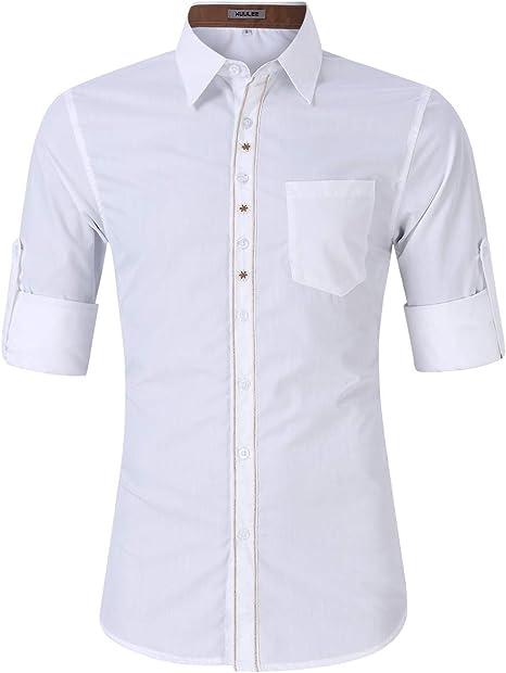 Amazon.com: Kuulee - Camisa de piel para hombre, estilo ...
