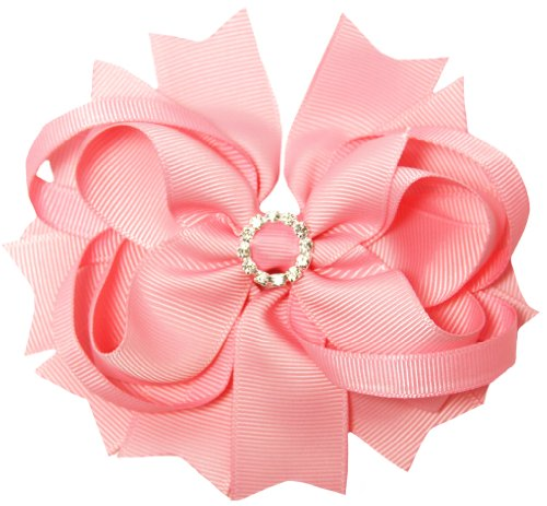 "Light Pink Grosgrain Hair Bow with Round Rhinestone - 4"""