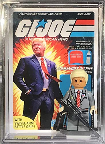 BuildABrick G.I. Joe Donald Trump POTUS Custom Mini Action Figure w/ Display Case & UV Collectible Trading Card for Boys Girls & Adult Toy Collection BAB411 -  BUILD-A-BRICK Custom Entertainment Collectibles, BAR411