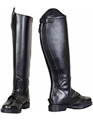 TuffRider Womens Starter Back Zip Field Boots in Synthetic Leather, Black, 10 Regular