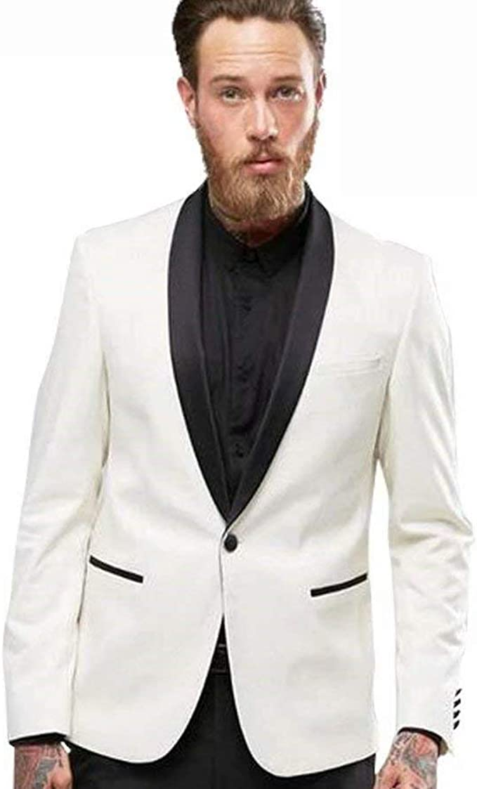 Onlylover Mens Shawl Lapel 2 Piece Suits Slim Fit One Button White Wedding Groom Tuxedos
