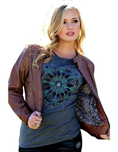 Cruel Women's Vegan Leather Jacket Snakeskin Brown Large (Cropped Jacket Brown)