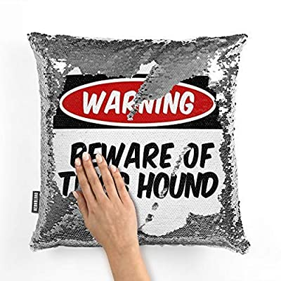 659ParkerRob Beware of The Trigg Hound Dog from Kentucky, United States Reversible Sequin Pillow Covers 16 x 16 Decorative Pillow Case Giltter Cushion Covers Silver & White Birthday