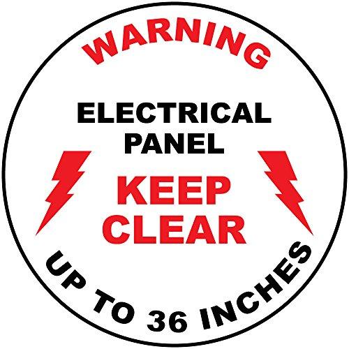 (Warning Electrical Panel Keep Clear Red Black Anti-Slip Floor Sticker Decal 17 in longest side)