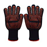Koeads Fire Resistant Gloves Fire Pit 932°F, Heat Resistant BBQ Grilling Cooking Gloves For Barbecue Kitchen Outodor Cooking Baking Fireplace Accessories (Black+Orange)