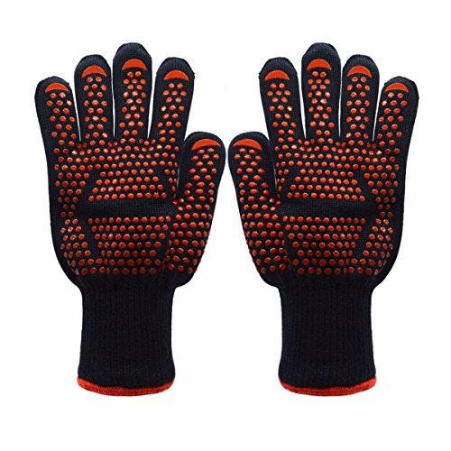 Koeads Fire Resistant Gloves Fire Pit 932°F, Heat Resistant BBQ Grilling Cooking Gloves For Barbecue Kitchen Outodor Cooking Baking Fireplace Accessories (Black+Orange) Review