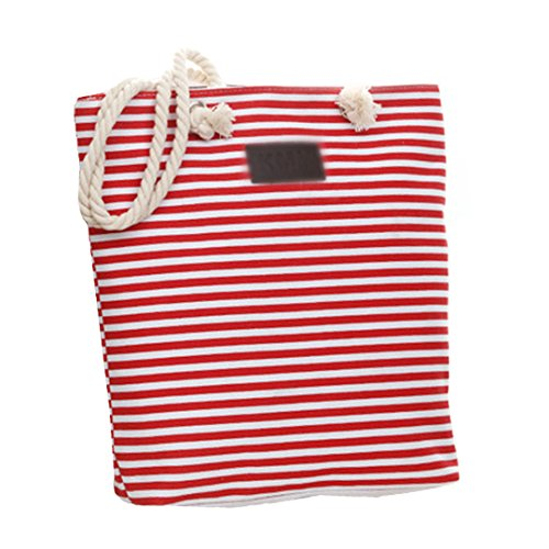Stripe Bag Summer Tote Ladies Canvas stripe Red Shoulder Shopping Bag Blue Meliya Oversized Beach Striped Beach zZxXwx0q