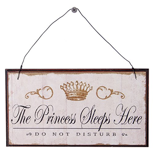 NIKKY HOME The Princess Sleep Here, Do not Disturb Wooden Wall Decorative Sign 8.37 x 0.37 x 4.5 Inches White (Sign Door Girl)