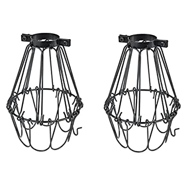 Rustic State Set of 2 Industrial Vintage Style | Hanging Pendant Metal Wire Cage | Light Fixture Lamp Guard | Adjustable Openings to Different Styles