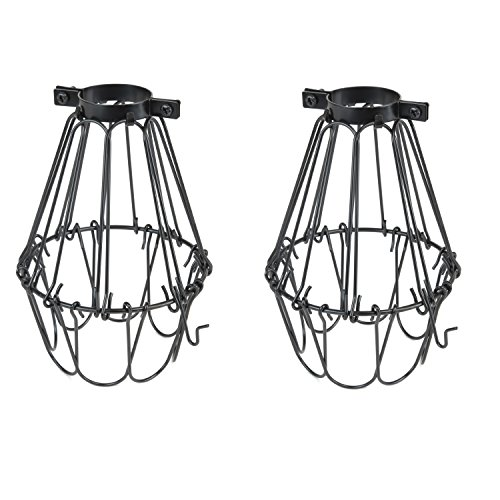 Rustic State Set of 2 Industrial Vintage Style | Hanging Pendant Metal Wire Cage | Light Fixture Lamp Guard | Adjustable Openings to Different Styles (Black) (Wire Pendant Cage)
