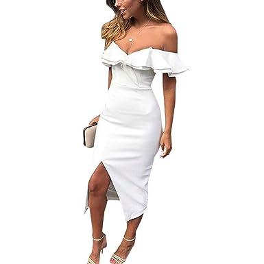19504e17eb4 Hibye Women Boho Bodycon Dress, Sexy Sleeveless Ruffle Slash Neck Deep V  Neck Evening Club