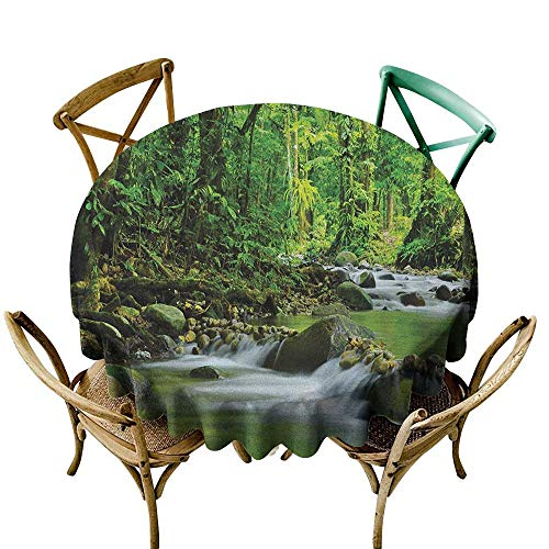 Premium Round Tablecloth 39 inch Rainforest,Mountain Stream in a Tropical Rain Forest Foliage Countryside Wilderness Scene, Green Brown Suitable for Indoor Outdoor Round Tables