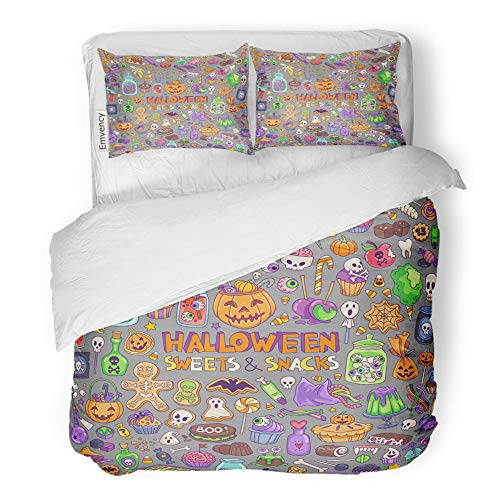 Emvency 3 Piece Duvet Cover Set Brushed Microfiber Fabric Breathable Halloween Candies Sweets Snacks and Drinks for Trick Treating Kids Party Bedding Set with 2 Pillow Covers Twin Size