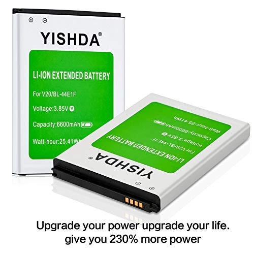YISHDA LG V20 Battery, 6600mAh Replacement LG V20 Extended Battery BL-44E1F  with Back Cover & TPU Case for LG H910 H918 V995 LS997 Phone   LG V20