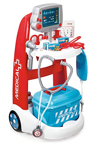 Smoby Roleplay Doctor Playset Cart with 16 Accessories and Alarm Sounds, 22-Inch, Red Playset