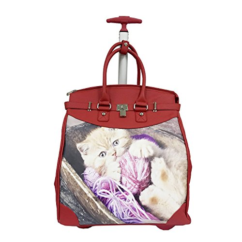 Kitten Red Synthetic Leather 14-inch Laptop Travel Tote ()