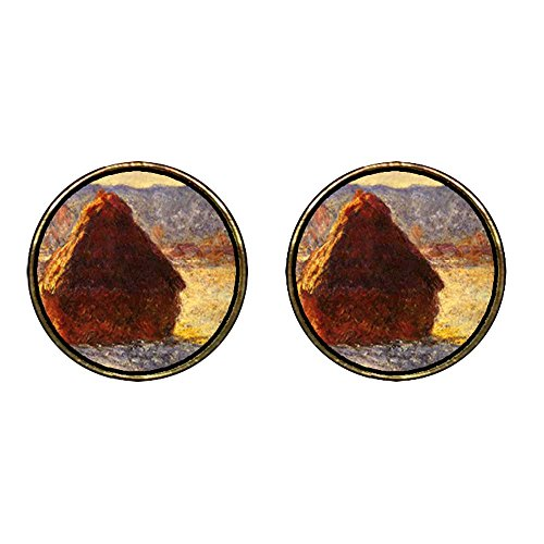 GiftJewelryShop Gold Plated Monet Wheatstack Photo Stud Earrings 12mm Diameter ()