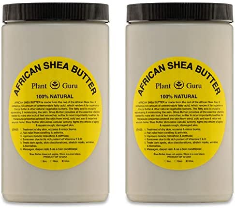 Raw African Shea Butter 32 oz (2 Pack) Bulk Unrefined Grade A 100% Pure Natural Ivory/White From Ghana DIY Crafts, Body, Lotion, Cream, lip Balm, Soap Making, Eczema, Psoriasis And Aid Stretch Marks