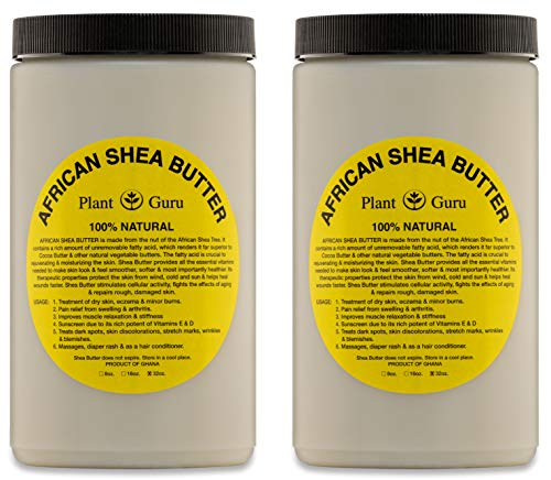 - Raw African Shea Butter 32 oz (2 Pack) Bulk Unrefined Grade A 100% Pure Natural Ivory/White From Ghana DIY Crafts, Body, Lotion, Cream, lip Balm, Soap Making, Eczema, Psoriasis And Aid Stretch Marks