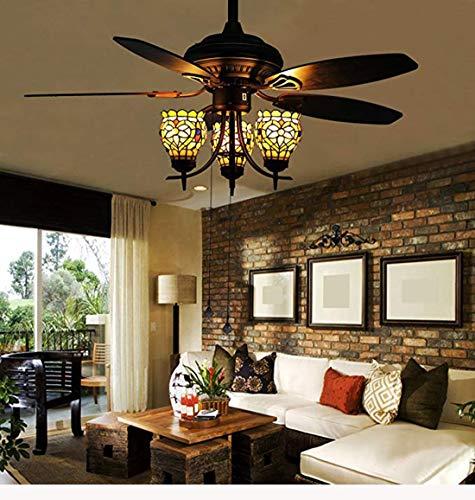 Makenier Vintage Tiffany Style Stained Glass 3-Light Lotus Uplight 5-Blade Ceiling Fan Light Kit