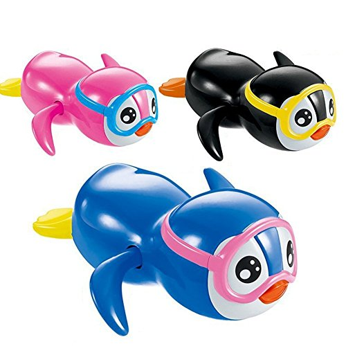 Cute Wind Up Swimming Penguin Bathtub And Swimming Pool Toy for Boys Girls Pack of 3 (Boy Baby New Penguin)