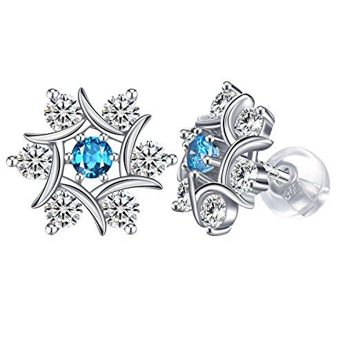 Snowflake Earrings, J.Rosée 925 Sterling Silver 3A Cubic Zirconia Stud Earrings Christmas Gift for women with Exquisite Package