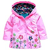 Arshiner Girl Baby Kid Waterproof Hooded Coat Jacket Outwear Raincoat Hoodies 2-9 Y Pink