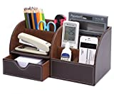 Qingsun Storage Compartment PU leather desk organizer (Coffee)