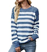 KIRUNDO Women's Casual Long Sleeves Crew Neck Striped Print Knit Sweater Loose Comfy Pullover Top...