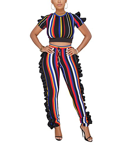 Dreamparis Women's Colorful Stripe 2 Piece Outfits Ruffle Jumpsuit Short Sleeve Crop Top + High Waist Skinny Pants Set Small Red (Red Pants Crop)