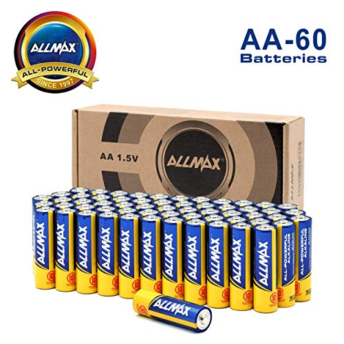 ALLMAX Premium Alkaline Batteries - AA Battery (60 Pack) 1.5 Volt - All-Purpose, Leak-Proof, Ultra Long Lasting