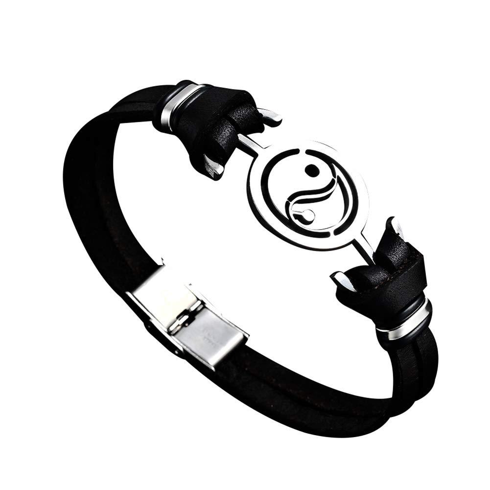Everrikle Bracelet Bangle Jewelry,Vintage Men Tai Chi Yin Yang Faux Leather Clasp Bracelet Bangle Jewelry Gift
