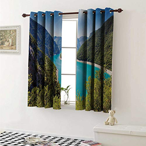European Window Curtain Fabric The Piva Canyon with Reservoir Montenegro Balkans Europe Sunlights Curtains and Drapes for Living Room W55 x L63 Inch Aqua Sky Blue Forest Green